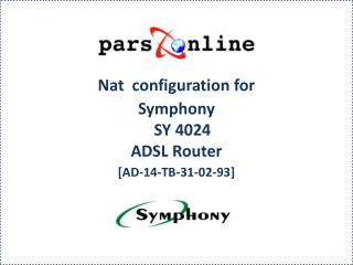 Nat  configuration for Symphony SY 4024 ADSL Router