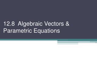 12.8  Algebraic Vectors & Parametric Equations
