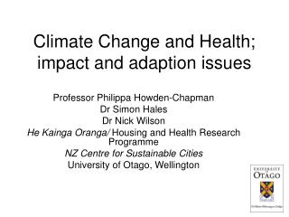 Climate Change and Health; impact and adaption issues