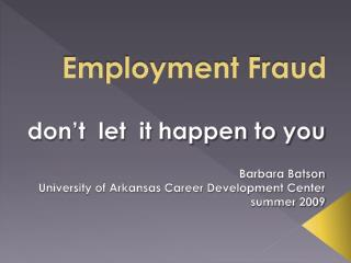 Employment Fraud