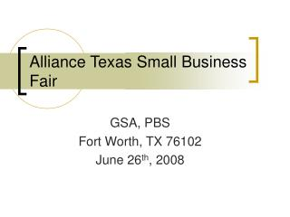 Alliance Texas Small Business Fair