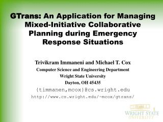 GTrans: An Application for Managing Mixed-Initiative Collaborative Planning during Emergency Response Situations
