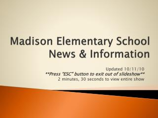 Madison Elementary School News & Information