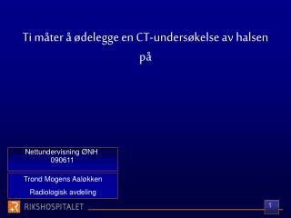 Nettundervisning ØNH  090611