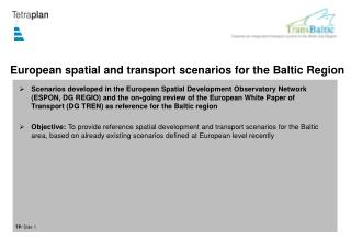 European spatial and transport scenarios for the Baltic Region