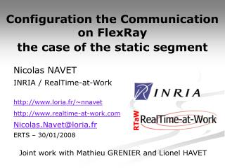 Configuration the Communication on FlexRay  the case of the static segment