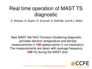 Real time operation of MAST TS diagnostic