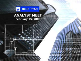 ANALYST MEET February 25, 2008