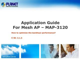 Application Guide  For Mesh AP � MAP-3120