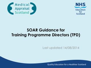 SOAR Guidance for Training Programme Directors (TPD)