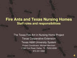 Fire Ants and Texas Nursing Homes Staff roles and responsibilities