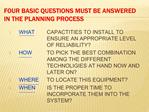 FOUR BASIC QUESTIONS MUST BE ANSWERED IN THE PLANNING PROCESS