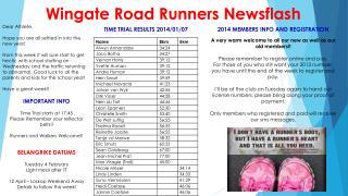 Wingate Road Runners Newsflash