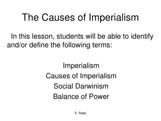 The Causes of Imperialism