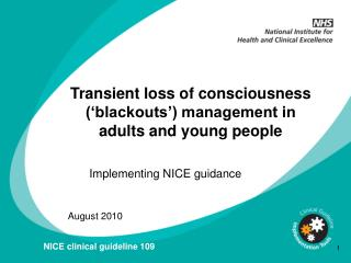 CG109 Transient loss of consciousness in adults and young ...