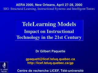 TeleLearning Models Impact on Instructional Technology in the 21st Century
