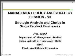 MANAGEMENT POLICY AND STRATEGY SESSION - VII