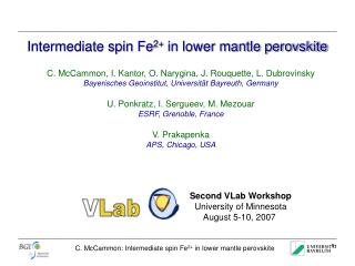 Intermediate spin Fe 2+  in lower mantle perovskite