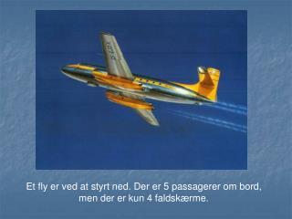 Et fly er ved at styrt ned. Der er 5 passagerer om bord, men der er kun 4 faldskærme.