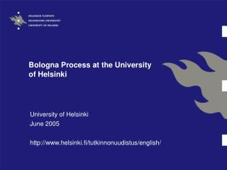 Bologna Process at the University of Helsinki