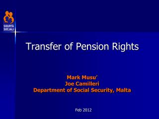 Transfer of Pension Rights