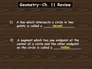 Geometry—Ch. 11 Review