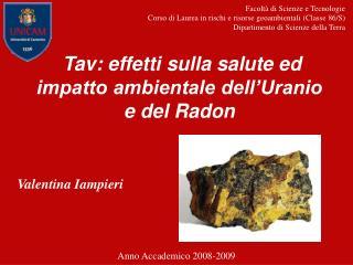 Tav: effetti sulla salute ed impatto ambientale dell'Uranio e del Radon