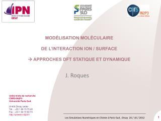Modélisation moléculaire  de l'interaction ion / surface     approches DFT statique et dynamique