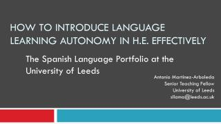 How to Introduce Language Learning Autonomy in H.E. Effectively