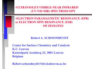 Robert A. SCHOONHEYDT Center for Surface Chemistry and Catalysis K.U. Leuven