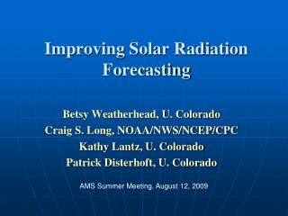 Improving Solar Radiation Forecasting