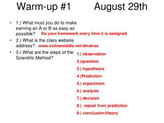 Warm-up #1        August 29th
