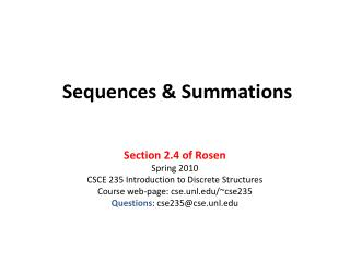Sequences  Summations