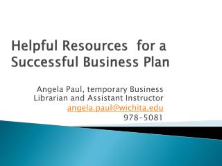 Helpful Resources  for a Successful Business Plan