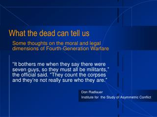 What the dead can tell us