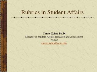 Rubrics in Student Affairs