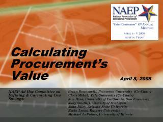 Calculating Procurement s Value