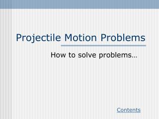 Projectile Motion Problems