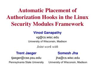 Automatic Placement of Authorization Hooks in the Linux Security Modules Framework