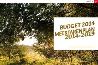 BUDGET 2014 EN MEERJARENPLAN 2014-2019