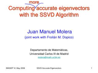 Computing accurate eigenvectors with the SSVD Algorithm