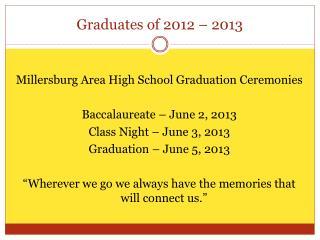 Graduates of 2012 � 2013