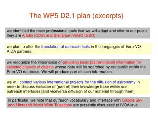 The WP5 D2.1 plan (excerpts)