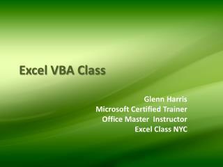 Excel VBA Class