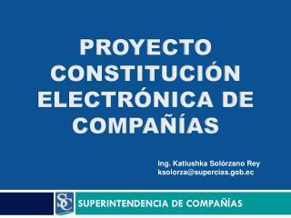 PROYECTO CONSTITUCI�N ELECTR�NICA DE COMPA��AS