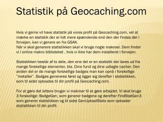 Statistik på Geocaching