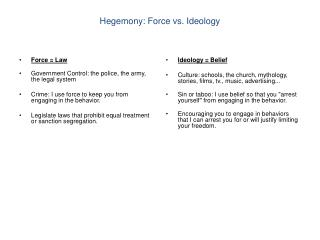 Hegemony: Force vs. Ideology