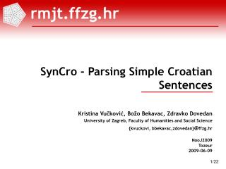 SynCro - Parsing Simple Croatian Sentences