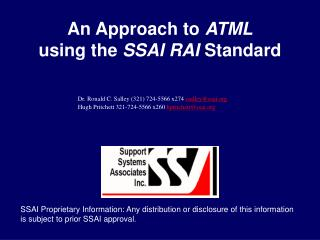 An Approach to  ATML using the  SSAI RAI  Standard