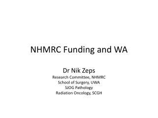 NHMRC Funding and WA